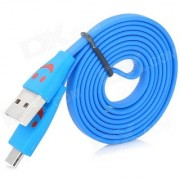 Smiley LED Light Flat Micro USB Charger Data Cable