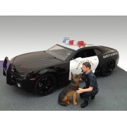 Police Guy & K9 Unit Dog Figure Set For 1:18 Models by American Diorama 23900