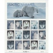 Arctic Animals: Arctic Hare Arctic Fox Snowy Owl Polar Bear and Gray Wolf Full Sheet of 15 x 33-Cent Postage Stamps USA 1999 Scott 3288-92