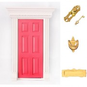 Magideal 1:12 Dolls House Miniature Rose Red Fairy Wooden Door with Hardware