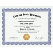 Emerald Emeralds Degree: Custom Gag Diploma Doctorate Certificate (Funny Customized Joke Gift - Novelty Item)