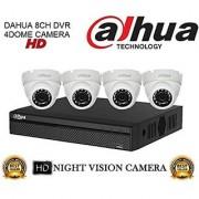 Dahua 8CH Compact DVR 1Pcs + Dahua 1MP Night Vision Dome Camera 4Pcs Combo Kit.