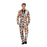 Smiffy's Adult men's Comic Strip Suit, Jacket, trousers and Tie, Stand out Suits, Serious Fun, Size M, 43526