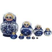 Flada Best Kids Gift Beautiful Nesting Dolls Russian Matryoshka Babushka Wooden Toys A Set Of 10 Pieces Royal Blue