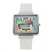 Tv Test Pattern Watch - Orologio Monoscopio con cinturino in pelle BIANCO