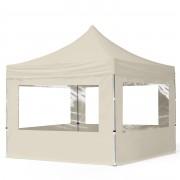 Intent24 3x3m Tente pliante avec côtés (dont 4 panoramiques), ECONOMY Alu, crème