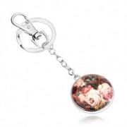 Kulcstartó - körlap, domború fénymáz, kinyílt tarka rózsa
