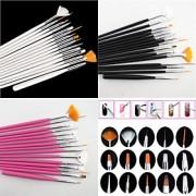 15st nail art design måla ritning penna pensel set (vit, rosa, svart 3 färg att välja)