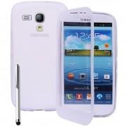 Samsung Galaxy Y S5360 : Coque Etui Housse Pochette Silicone Gel Livre Rabat Blanc + Film+ Stylet