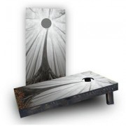 Custom Cornhole Boards Trees in a Foggy Forest Light Weight Cornhole Game Set CCB132-AW / CCB132-C