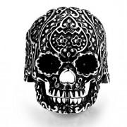 indivíduo clássico flor crânios stoving verniz não dos homens de pedra decorativos anel de aço inoxidável (preto) (1pc)