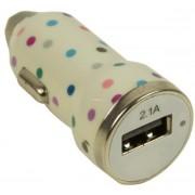 Incarcator Auto Trendz Bullet Polka Dot TZICUSBPD, 1 USB, cablu MicroUSB inclus, 2.1A (Alb)