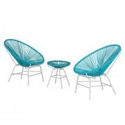 Zitgroep Copacabana IV (3-delig) - kunststof/metaal - turquoise/wit, Fredriks