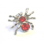 PANDORA STYLE RED DIAMONTIE CRYSTAL SPIDER SILVER PLATED CENTRE