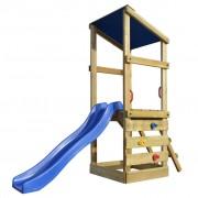 vidaXL дървена къща за игра със стълба и пързалка, 260x90x235 см