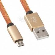 Sony USB Дата-кабель Micro USB в джинсовой оплетке (оранжевый/коробка)