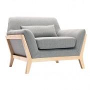 Sillón diseño gris patas madera YOKO - Miliboo