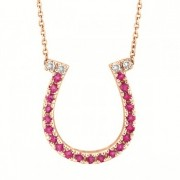 Pink Sapphire & Diamond Horseshoe Pendant 14k Rose Gold (0.25ct)