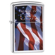 Zippo Made in USA Flag Brushed Chrome