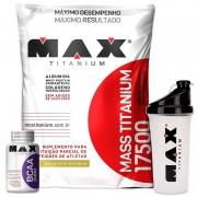 Kit Hipercalórico Mass Titanium 17500 (3kg) + Bcaa 2400 (100 Caps) + Coqueteleira (700ml) - Max Titanium