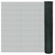 vidaXL Квадратна поцинкована мрежа 1 х 25 м с PVC покр. и отвори 12 мм