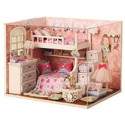 New Wooden Dollhouse Diy Miniature House DIY Kit with Cover for Christmas Gift (Dream Angels)