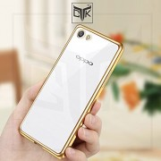 TheGiftKart™ Luxury Electroplated Golden Border High Quality TPU Soft Flexible Back Cover for Oppo F1S