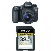 Pack Canon 70D Appareil photo numérique Réflex Kit Boîtier + Objectif 18-55 Mm IS 20,9 Mpix Noir + Carte mémoire SD PNY