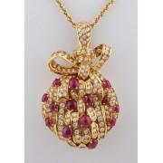 Zlatý přívěšek s diamanty 5,4 ct a rubíny 7,0 ct