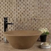 Mozaic Travertin Noce Siding Scapitat 2.5 x 5 cm