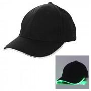 Al aire libre verde luminoso LED parpadeante Deportes CAP - Negro + Verde