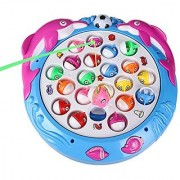 Fajiabao Electronic Rotating Fishing Game 4 Fishing Poles 21 fishes Musical Toys Pretend Play Game Set with Bright Light