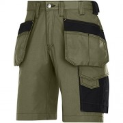 "Snickers 30233204058 Size 58 ""Rip-Stop"" Craftsmen Holster Pocket Shorts - Olive/Black"