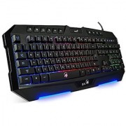 Auawak Genius Zeus Ergonomic Multimedia Smart Rainbow Backlit LED Pro Gaming Keyboard