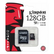 Kingston minneskort 128gb microsdxc (class 10) & sd-adapter