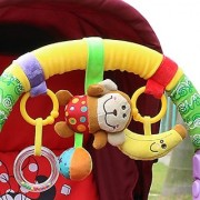 Hoyo Baby Infant Pram Charm Music Toy Bed Stroller Hang Bell Rattles Animal Monkey Friends,Moon Rattle,