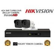 Hikvision DS-7204HUHI-F1 3MP 4CH Turbo HD DVR 1Pcs + Hikvision DS-2CE16F1T-IT Bullet Camera 2Pcs Combo Kit.