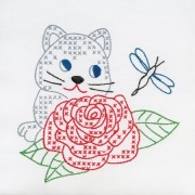 Jack Dempsey 733 448 Stamped White Quilt Blocks 9 X9 12/Pkg Kitten & Rose