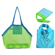 Mybestfurn Pack Of 3 Beach Bag Set - Large Size Sand Away Beach Mesh Toy Bag Tote + Small Size Children Toys Shell Collect Grid Beach Bag + Clown fish Fordable Shopping Bag - Green & Blue