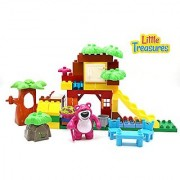 Little Treasures Friendly Bear Building Brick 59 Piece Play Set That Lets You Build Your Own Jungle Home - Duplo Compati