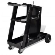 vidaXL Черна количка за инструменти заваряване с 3 рафта