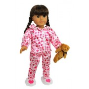"Doll Clothes for American Girl Dolls: 4 Piece ""Hearts and Kisses"" Pajamas Outfit -""Dress Along Dolly"" (Includes Pajama Shirt, Pants, Heart Slippers, and Teddy Bear)"