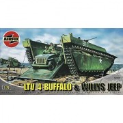 Airfix A02302 1:76 Scale Buffalo Amphibian and Jeep Military Vehicles Classic Kit Series 2