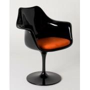 Replica Eero Saarinen Tulip Armchair-Black Fibreglass/Orange cushion