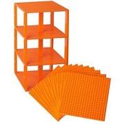 Premium Orange Stackable Base Plates - 10 Pack 6 x 6 Baseplate Bundle with 80 Orange Bonus Building Bricks (LEGO Compa