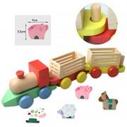 Trenulet din lemn cu animale - Ferma Animalelor