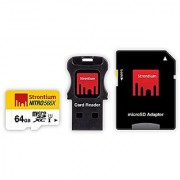 Strontium Nitro 64GB MicroSDXC UHS-I Memory Card with Adapter and Card Reader Up to 85MB/s (SRN64GTFU1C)