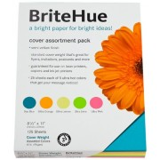 BriteHue Multipurpose Card Stock, 65 lbs., Letter, Assorted, 125 Sheets, Sold as 1 Package