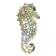 Bridal Beach Wedding Elegant Seahorse Swarovski Crystal Brooch