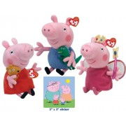Ty Beanie Babies Peppa Pig, Princess, and George with Family Sticker Set - Ty Beanie Babies Peppa Pig, Princesa, y George con la etiqueta engomada, conjunto